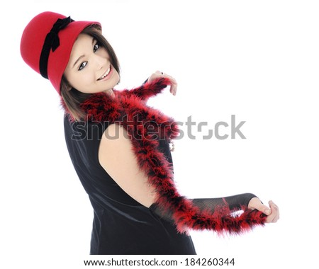 "A beautiful teen ""flapper"" in her red and black Roaring 20s outfit, looking back at the view as if inviting  him to dance with her.  On a white background."