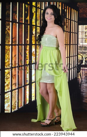 A beautiful teen girl happy in her homecoming dress.   - stock photo