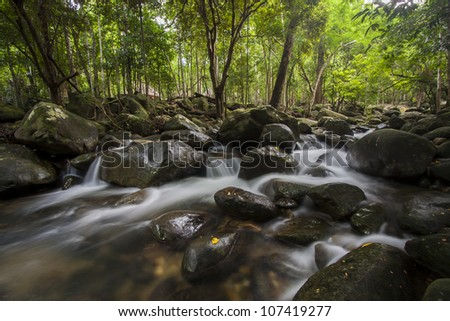 A beautiful temperate rainforest with waterfalls.The Khoa Chamoun Water Fall in Rayong Thailand.