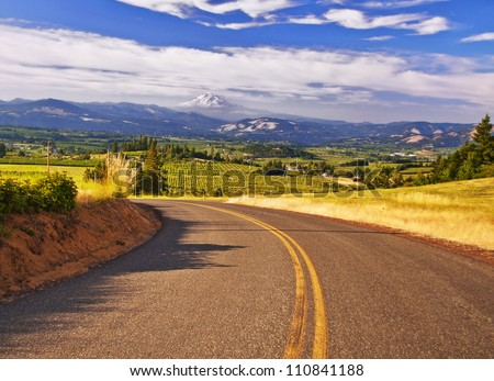 A beautiful valley in hood river - stock photo