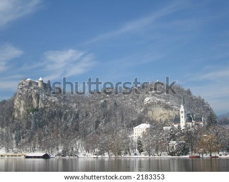 A beautiful view of Lake Bled (Slovenia) and its surroundings in the winter.