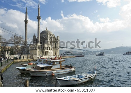 a beautiful view of Ortakoy Mosque and Bosphorus bridge in Istanbul, Turkey