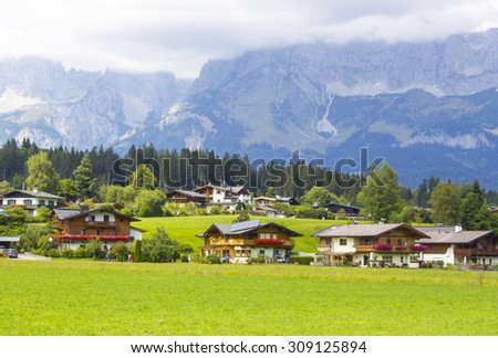 a beautiful view of the austrian alps and Oberndorf in Tirol, Austria - stock photo