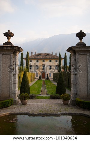 A beautiful villa on Lake Como - stock photo