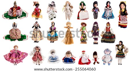 a beautiful vintage dolls collection isolated over a white background - stock photo