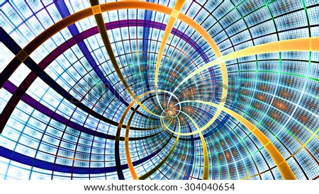 A beautiful wallpaper with a spiral with decorative tiles, all in bright vivid blue,yellow,orange,purple - stock photo