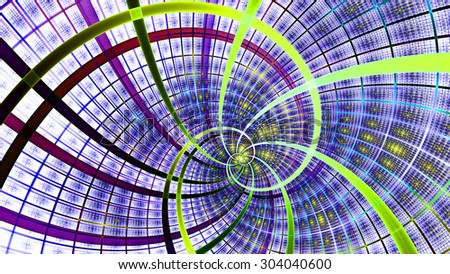 A beautiful wallpaper with a spiral with decorative tiles, all in bright vivid purple,pink,green,yellow - stock photo
