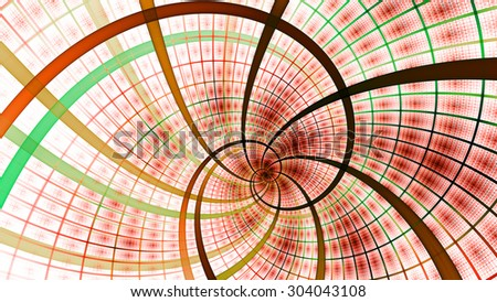 A beautiful wallpaper with a spiral with decorative tiles, all in vivid pastel red,green,yellow - stock photo