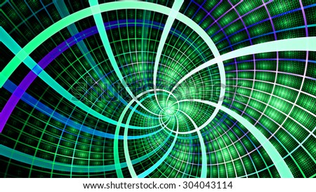 A beautiful wallpaper with a spiral with decorative tiles, all in vivid shining green,blue,purple - stock photo
