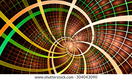 A beautiful wallpaper with a spiral with decorative tiles, all in vivid shining orange,red,green,pink - stock photo