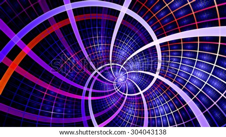 A beautiful wallpaper with a spiral with decorative tiles, all in vivid shining red,pink,blue,purple - stock photo