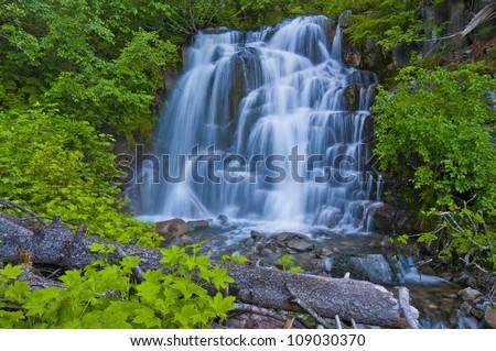 A Beautiful Waterfall At Mt Rainer - stock photo