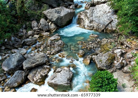 a beautiful waterfall of lovers in abkhazia - stock photo
