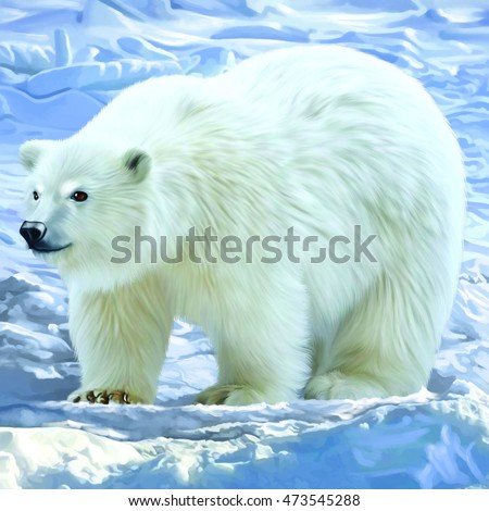 A beautiful white polar bear