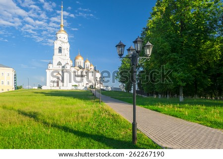 A beautiful white stone Orthodox Assumption Cathedral in Vladimir, Russia. Built in 1158-1160 years. . In 1992 the Assumption Cathedral was included in the list of UNESCO World Heritage Site. - stock photo
