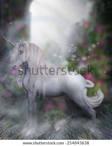 A beautiful white unicorn standing in the mist with magic surrounding him. - stock photo