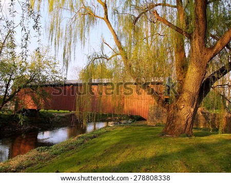 A beautiful willow tree with a swing stands beside the Lime Valley Covered Bridge, also known as Strasburg Bridge, in Lancaster County, Pennsylvania.  - stock photo