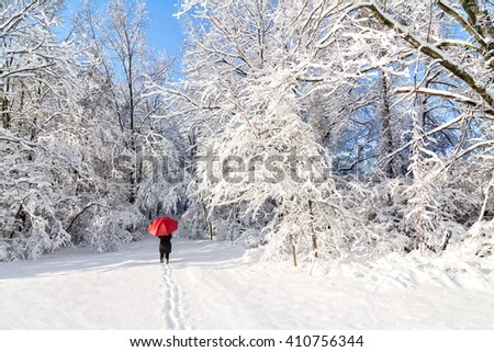 A beautiful winter snow scene with a woman walking with a red umbrella as the snow clings to the trees. - stock photo