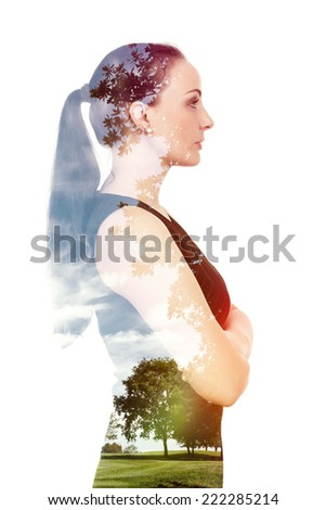 A beautiful woman double exposure with nature - stock photo