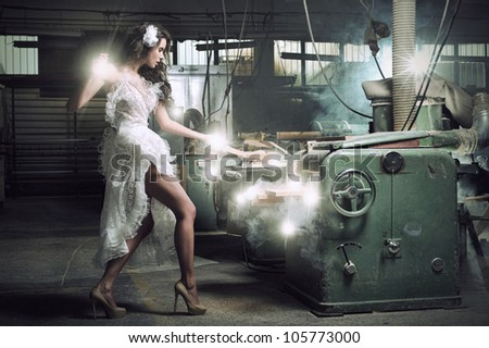 A beautiful woman enchanted board cuts - stock photo