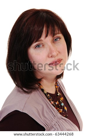 A beautiful woman in her forties with short brown hair, smiling into the camera, on white background.