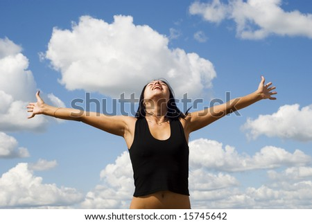a beautiful woman over sky background
