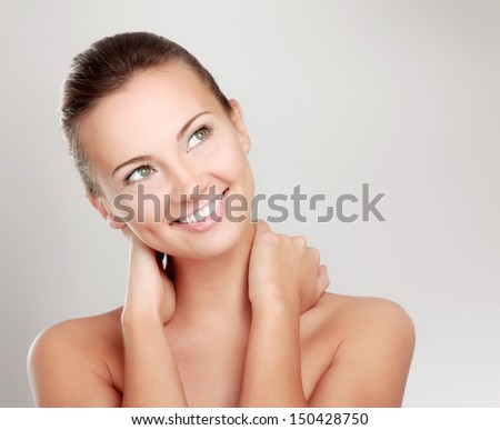 A beautiful woman, portrait isolated on white background - stock photo