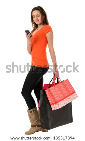 a beautiful woman shopping isolated on white background - stock photo