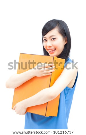 a beautiful woman smiling and holding gift box , isolated on white background
