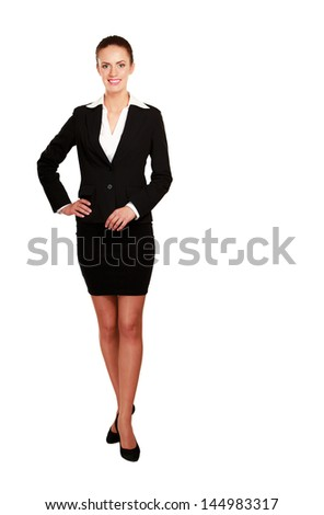A beautiful woman standing , isolated on white background