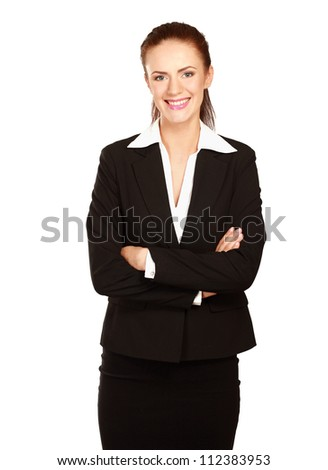 A beautiful woman standing with her arms crossed, isolated on white background