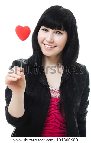 A beautiful woman with a heart on a white background. - stock photo