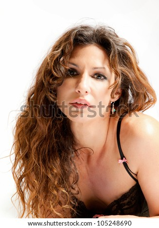 A beautiful woman with long hair - stock photo