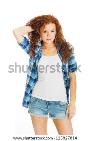A beautiful woman with red hair - stock photo