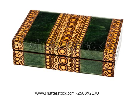 a beautiful wooden casket or box isolated over a white background - stock photo