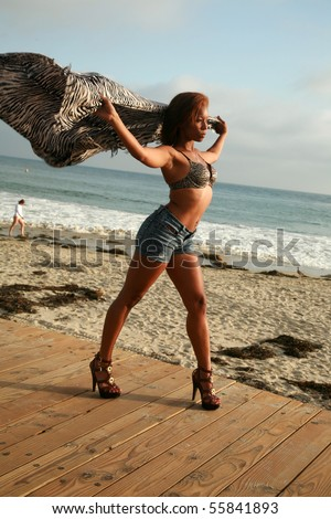 a beautiful young african american woman holds her shawl into the wind as if she can fly - stock photo