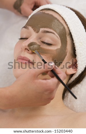 A beautiful young brunette woman having a chocolate face mask applied by a beautician - stock photo