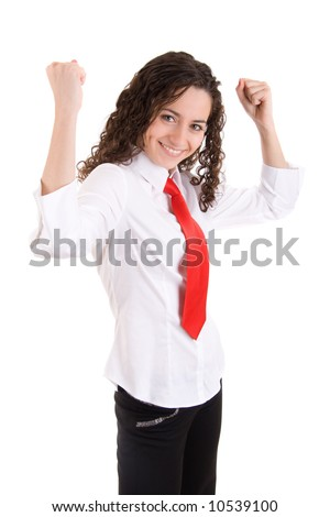 A beautiful young business woman, happy and smiling and on isolated white background. Shot in studio. - stock photo