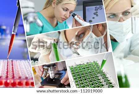 A beautiful young female medical or scientific researcher using her microscope doing scientific research in a Laboratory - stock photo