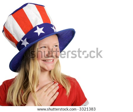 A beautiful young girl dressed patriotically and saying the Pledge of Allegiance.  White background with room for text.