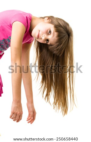 a beautiful young teenage girl isolated on white - stock photo
