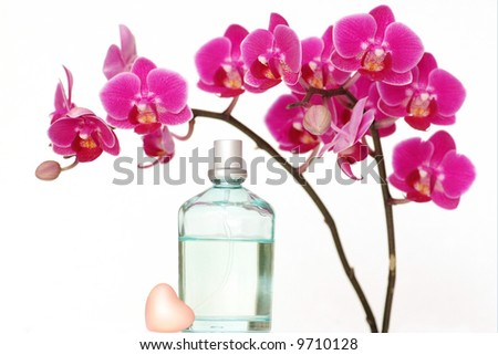 A beauty set with an orchid, a heart-shaped piece of soap and a perfume bottle - stock photo
