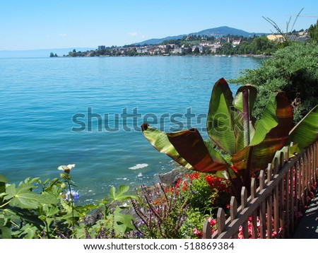 A beauty view of Geneva Lake seen from promenade in Montreux in July, Switzerland