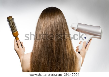 a beauty woman with long brown hair