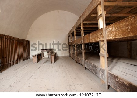 A bedroom in a concentration camp in Terezin