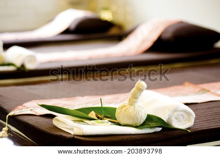 A beds for massage and spa - stock photo
