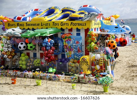 a beech novelty stall - stock photo