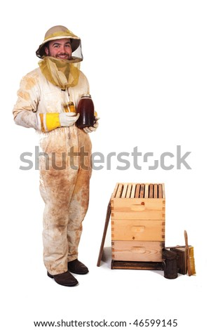 a beekeeper holding dark and light honey isolated - stock photo