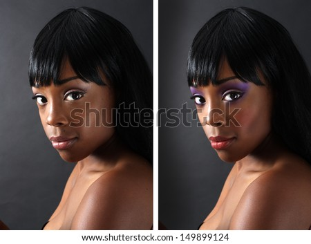 A before-and-after comparison of an extraordinarily beautiful young black woman, retouched with digital makeup. - stock photo