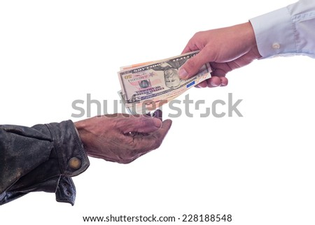 A beggar receiving money from a kind man? Isolated on white background with clipping path included . - stock photo